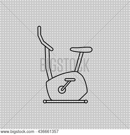 Stationary Bike Line Transparent Icon, Sport And Equipment, Exercise Bicycle Symbol. Linear Outline