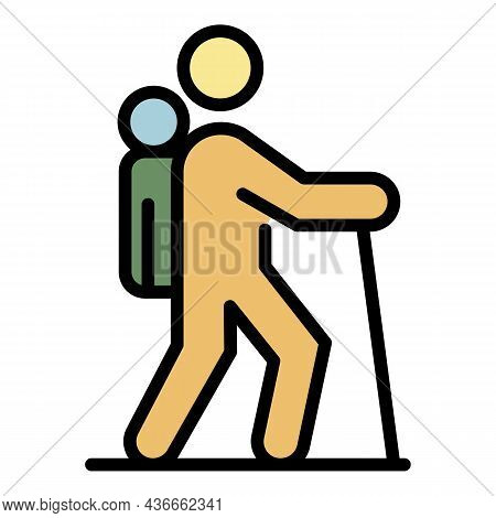 Hiking Family Icon. Outline Hiking Family Vector Icon Color Flat Isolated