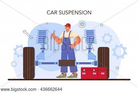 Car Repair Service. Automobile Components Got Fixed In Car Workshop