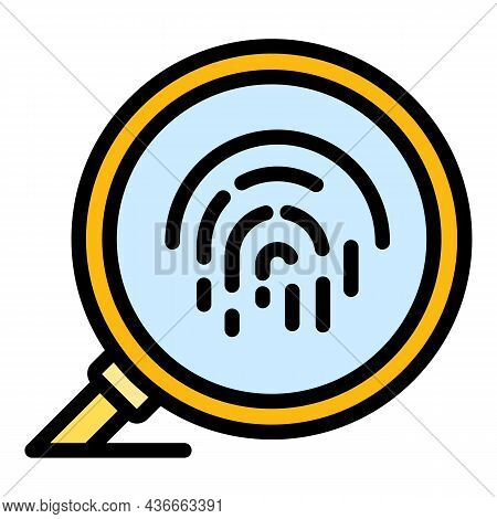 Fingerprint Under Magnifier Icon. Outline Fingerprint Under Magnifier Vector Icon Color Flat Isolate