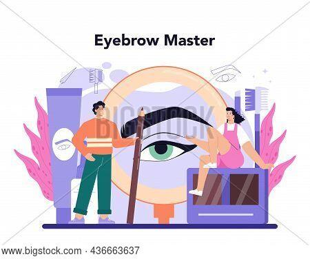 Eyebrow Master Concept. Master Making Perfect Eyebrows. Eyebrow Shaping