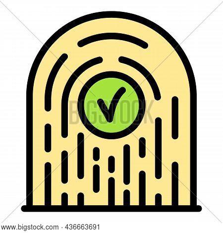 Successful Fingerprint Identification Icon. Outline Successful Fingerprint Identification Vector Ico