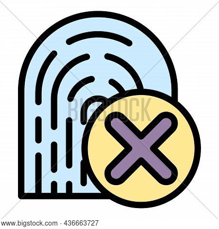 Fingerprint Rejected Icon. Outline Fingerprint Rejected Vector Icon Color Flat Isolated
