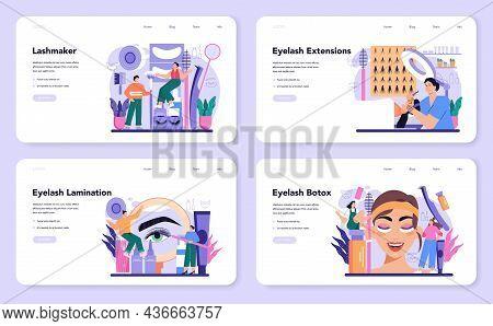 Lashmaker Web Banner Or Landing Page Set. Eyelash Extension, Eyelashes