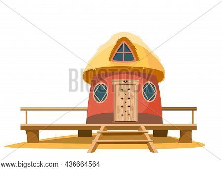 Bungalow Beach. Exterior Of The Building. House In Nature. Made From Traditional Building Materials.