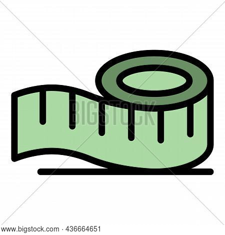 Measurement Tape Icon. Outline Measurement Tape Vector Icon Color Flat Isolated