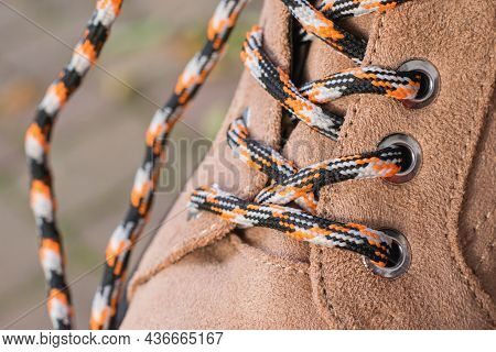 Brown Shoes And Shoelaces  - Detailed Photography