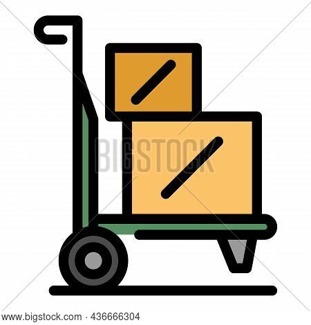 Relocation Cart Icon. Outline Relocation Cart Vector Icon Color Flat Isolated