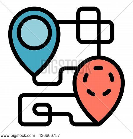 House Relocation Map Icon. Outline House Relocation Map Vector Icon Color Flat Isolated