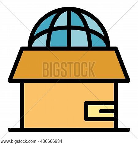 Global Box Relocation Icon. Outline Global Box Relocation Vector Icon Color Flat Isolated