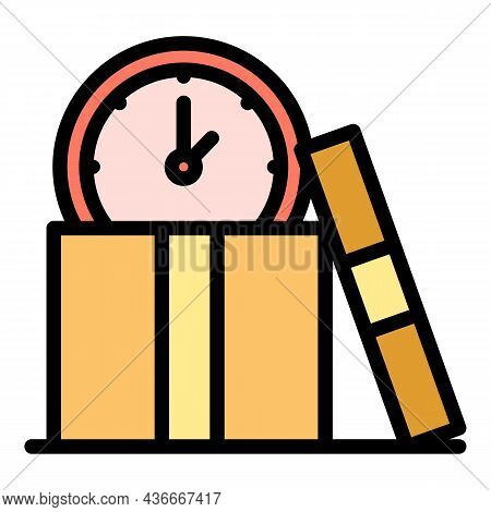 Time Parcel Delivery Icon. Outline Time Parcel Delivery Vector Icon Color Flat Isolated