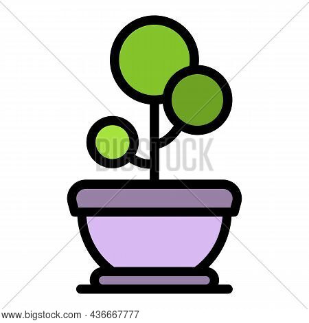 Decorative Flower In A Pot Icon. Outline Decorative Flower In A Pot Vector Icon Color Flat Isolated