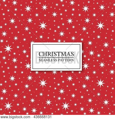 Christmas Seamless Star Pattern. Red Vector Xmas Endless Background. Can Be Used As Wrapping Paper,