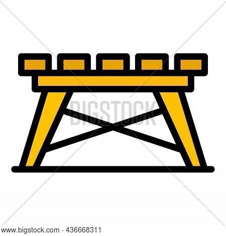Folding Board Table Icon. Outline Folding Board Table Vector Icon Color Flat Isolated