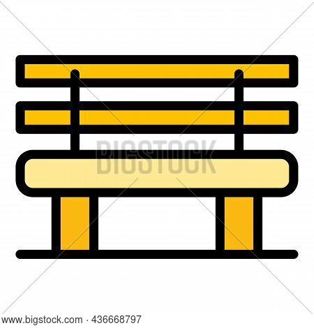 Classic Bench Icon. Outline Classic Bench Vector Icon Color Flat Isolated