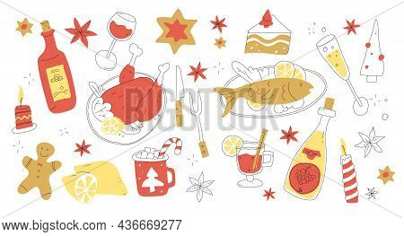 Christmas Menu Set In Doodle Style. Xmas Eve Food And Drinks. Merry Christmas Dinner. X-mas Party Ta