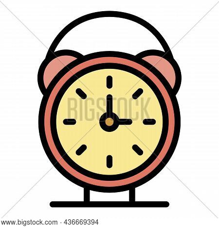 Alarm Clock Icon. Outline Alarm Clock Vector Icon Color Flat Isolated