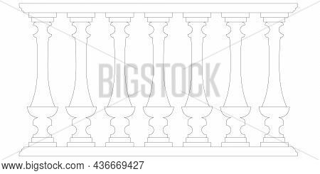 Decorative Fence Contour Isolated On White Background. Part Of The Railing. Vector Illustration