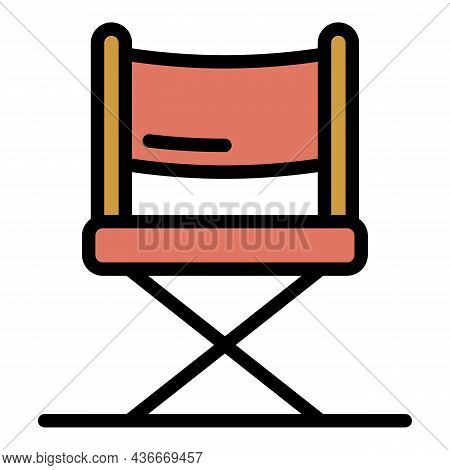 Video Director Show Chair Icon. Outline Video Director Show Chair Vector Icon Color Flat Isolated