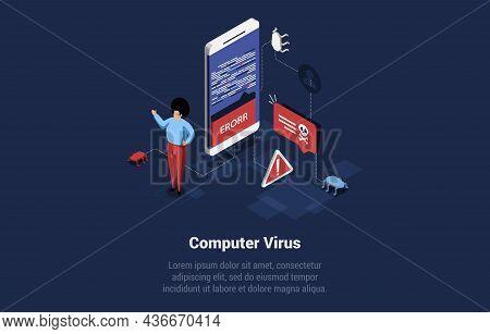 Computer Virus Concept Illustration In Cartoon 3d Style. Isometric Vector Composition On Dark Blue B