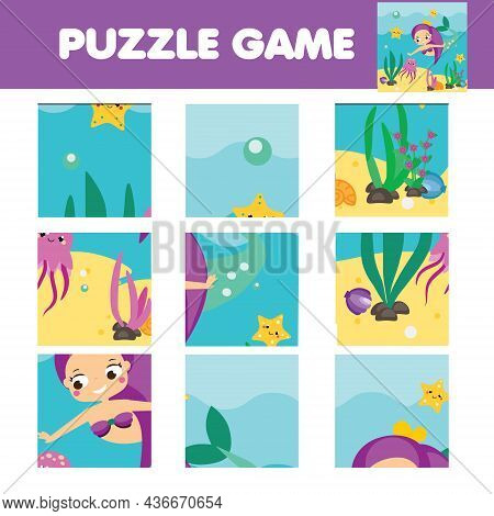 Jigsaw Puzzle For Toddlers. Match Pieces And Complete Picture Of Cute Mermaid. Educational Game For