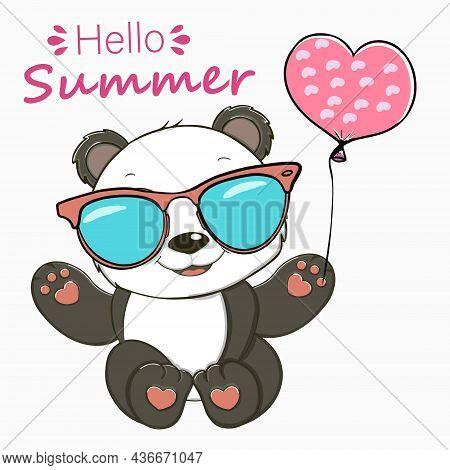 Cute Panda Bear Vector Illustration. Panda Bear Summer. Panda With Ballons. Summer Party.