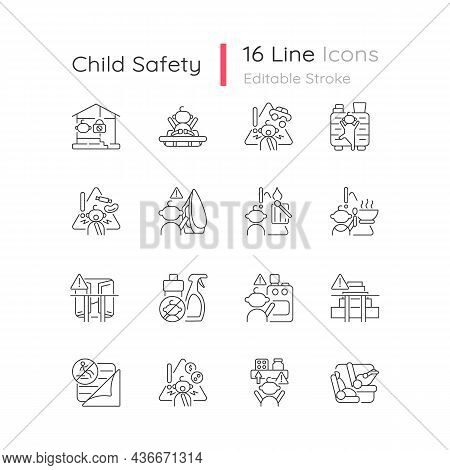 Child Safety Linear Icons Set. Baby Security Precautions. Keep Away Hazard Things From Kids. Customi