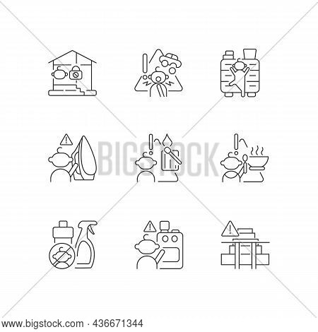 Kids Injuries Danger Linear Icons Set. Prevent Injuries And Burns. Hazard Situations For Infants. Cu