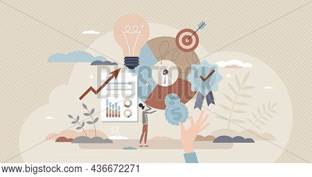 Brand Equity And Company Recognition Financial Value Tiny Person Concept. Commercial And Marketing C