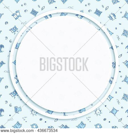 Circle Frame, Background On Seamless Pattern With Doodle Linear Icons. Printing Of Finished Photos.