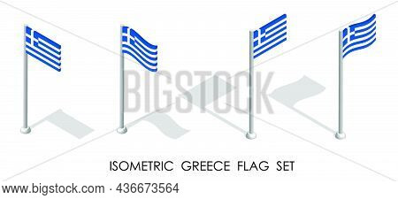 Isometric Flag Of Greece In Static Position And In Motion On Flagpole. 3d Vector