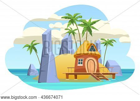 Bungalow On The Island. In The Blue Calm Sea. Summer Seascape. Rocks And Cliffs. Beach Hut By The Oc