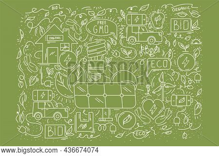 Background Energy-saving Ecology. Sustainable Natural Doodle Pattern For Textiles. Cute Poster About