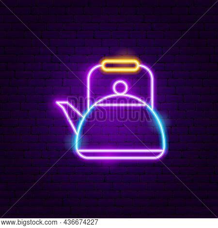 Kettle Neon Sign. Vector Illustration Of Drink Promotion.