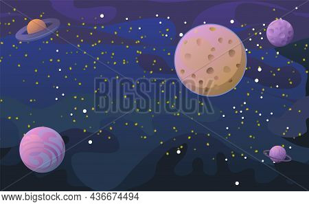 Cosmos Background. Planets And Their Satellites. Starry Sky Landscape. Dark Colors. Flat Style. Cart