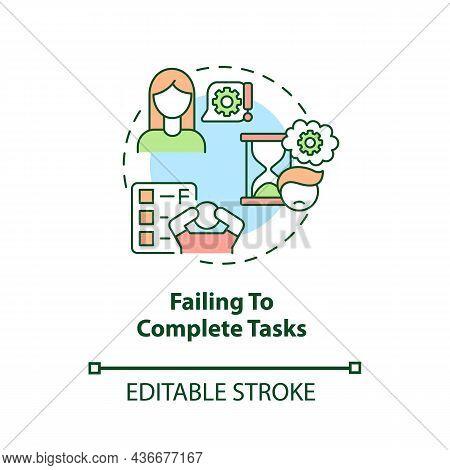 Failing To Complete Tasks Concept Icon. Inattentive Symptom Abstract Idea Thin Line Illustration. La