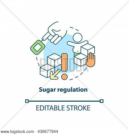 Sugar Regulation Concept Icon. Adhd Diet Abstract Idea Thin Line Illustration. Consuming Excessive A