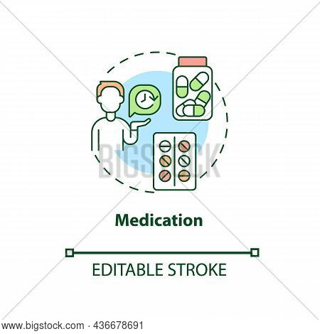 Medication Concept Icon. Treatment For Adhd In Adults Abstract Idea Thin Line Illustration. Stimulan