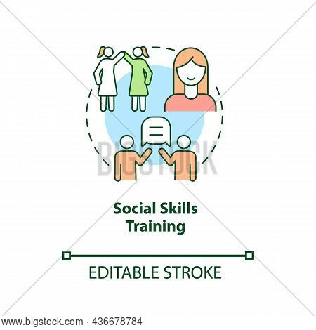 Social Skills Training Concept Icon. Treatment For Adhd In Adults Abstract Idea Thin Line Illustrati
