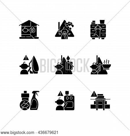 Kids Injuries Danger Black Glyph Icons Set On White Space. Child Safety At Home. Prevent Injuries An