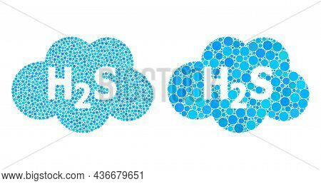 Pixelated Hydrogen Sulfide Cloud Icon. Collage Hydrogen Sulfide Cloud Icon Designed From Circle Item