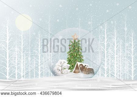Merry Christmas Gift Snow Globe With Xmas Tree And House Inside On Snow Floor In Blue Background,