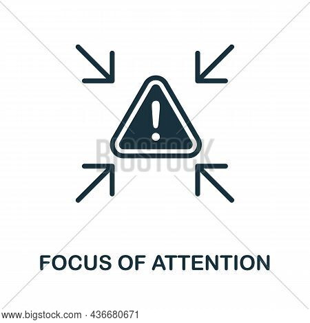 Focus Of Attention Icon. Monochrome Sign From Cognitive Skills Collection. Creative Focus Of Attenti