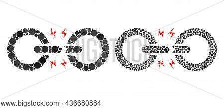 Dot Broken Chain Link Icon. Mosaic Broken Chain Link Icon Designed From Round Elements In Various Si