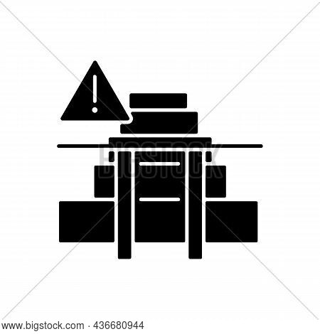 Stairway Safety Gates Black Glyph Icon. Child Safety. Falling And Injuries Prevention. Install Fence