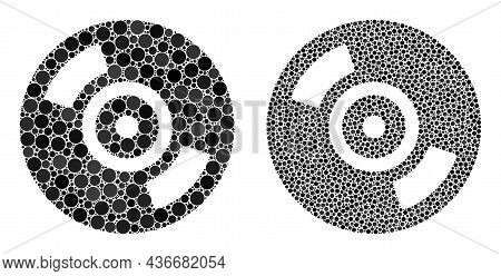 Pixel Cd Disc Icon. Collage Cd Disc Icon Constructed From Spheric Elements In Different Sizes And Co