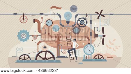 Industrial Revolution With Machines And Steampunk Gears Tiny Person Concept. Factory And Manufacturi