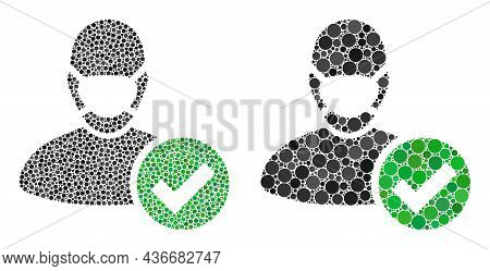 Pixelated Valid Masked Man Icon. Collage Valid Masked Man Icon Composed Of Circle Items In Different