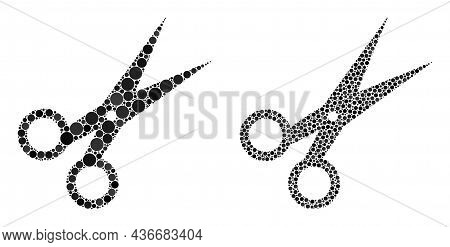 Dot Scissors Icon. Mosaic Scissors Icon Designed From Circle Parts In Random Sizes And Color Hues. V