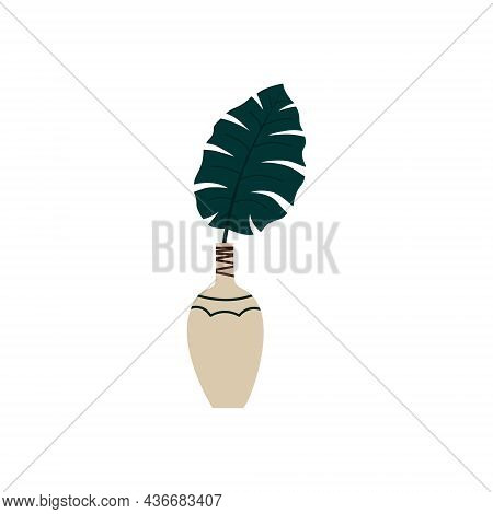Abstract Modern Vase With Tropical Leaves On A White Background. Fashionable Minimalism Of Fashionab